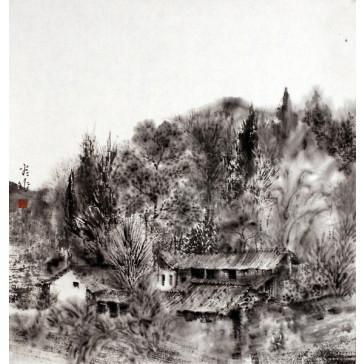 """An Ping Ping """"Bauernhof in den Bergen"""", chinesische Malerei"""