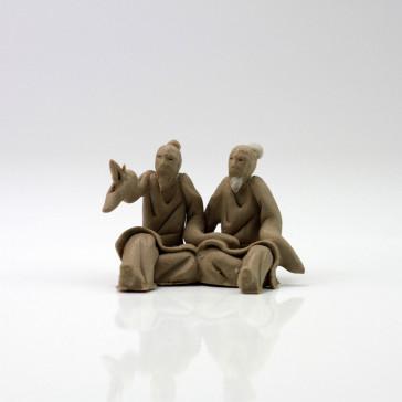 """Bonsai-Figur """"Weiser und Schüler"""", Tonfiguren"""