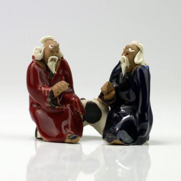 """Keramikfigur """"Zwei Gelehrte"""", Bonsaifigur"""