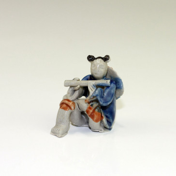 "Bonsai-Figur ""Flötenspieler"", chinesische Keramikfigur"