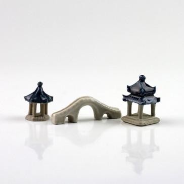 """Bonsaifiguren-Set """"Kleines China"""",Keramikfiguren"""