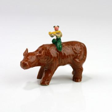 "Keramik-Figur ""Flötenspieler auf Wasserbüffel"", Bonsai-Figur"
