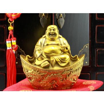 "Bronzefigur ""Glücksbuddha auf Goldbarren"", Golden"