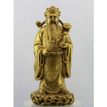 Glücksgott Lu Xing, goldfarbene Messingfigur