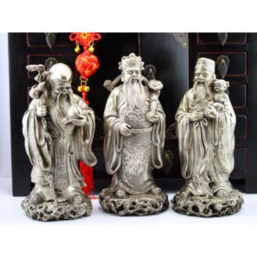 Fu Lu und Shou Metall-Figuren Set Sanxing Messing silberfarben