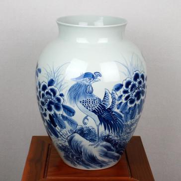 """Chinesische Porzellanvase """"Der Pfau"""", Bodenvase"""