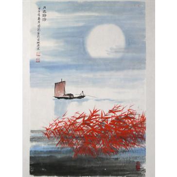 """Chinesische Malerei """"Glänzender Mond"""", Peng Guo Lan"""