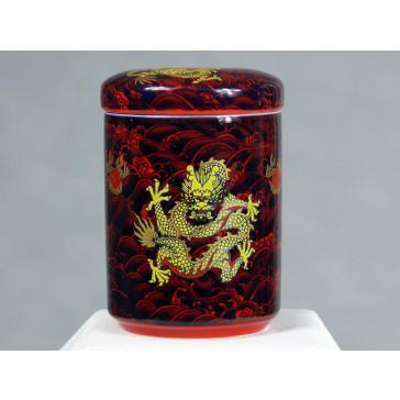 """Chinesische Teedose aus Porzellan """"Kämpfende Drachen"""", rot"""