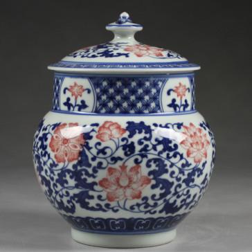 """Chinesische Vase """"Rote Blüte"""" Deckelvase Chinesisches Porzellan"""