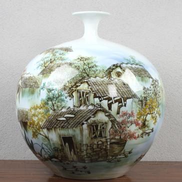 """Chinesische Vase """"Am grünen See"""", handbemaltes Unikat"""