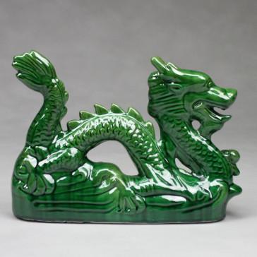 Chinesischer Drache Keramik-Figur grün mit Drachenkugel
