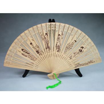 """Chinesischer Holzfächer """"Zwölf Schönheiten aus dem Traum der Roten Kammer"""", Handfächer"""