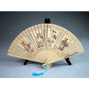 """Chinesischer Holzfächer """"Vier edle Gewächse"""", Handfächer"""