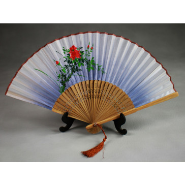 """Chinesischer Handfächer """"Wilde Rose"""", Klappfächer"""