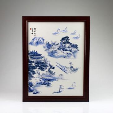 """Chinesisches Porzellanbild """"Segelidylle"""""""