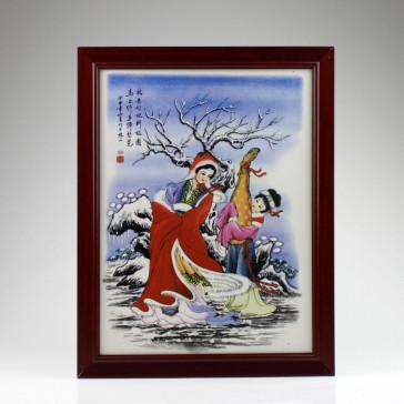 "Chinesisches Porzellanbild ""Wang Zhaojun"" (Die Vier Schönheiten), Keramik Wandbild"