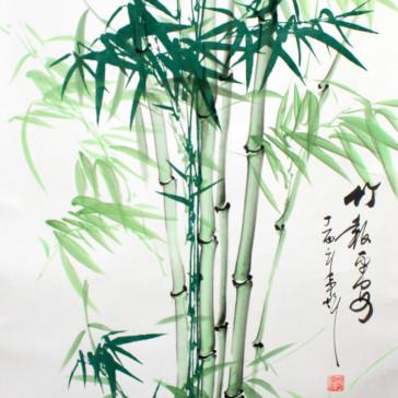 Rollbild grüner Bambus mit Schriftzeichen