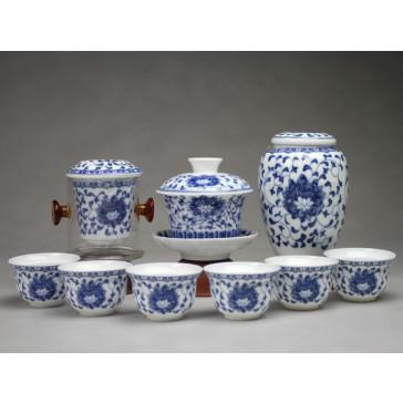 """Chinesisches Teezeremonie Set mit Gaiwan """"Lotusornament"""""""