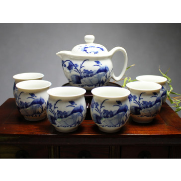"""Chinesisches Teeservice aus Porzellan """"Blumenvariation"""", blau-weiß"""
