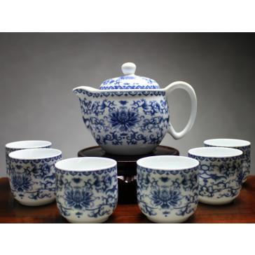 """Chinesisches Teeservice aus Porzellan """"Blumenornament"""""""