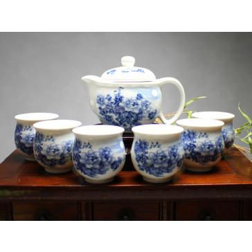 """Chinesisches Teeservice aus Porzellan """"Chrysanthemen im Mondschein"""""""
