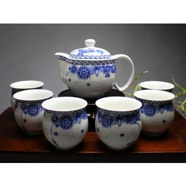 """Chinesisches Teeservice aus Reiskorn-Porzellan """"Frühlingsblumen"""""""