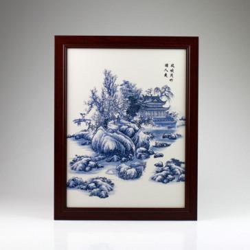 "Chinesisches Porzellanbild ""Palast im Winterzauber"", Wandbild Keramik"