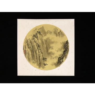 """Chinesische Tuschezeichnung """"Höher als Wolken"""""""