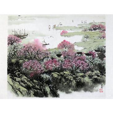 """Chinesische Tuschezeichnung """"Blühendes Ufer"""""""