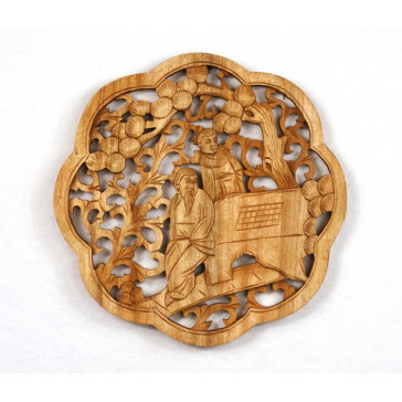 "Holzwandbild ""Die Vier Künste der Gelehrten - Xiangqi"", Wandbild Holz"