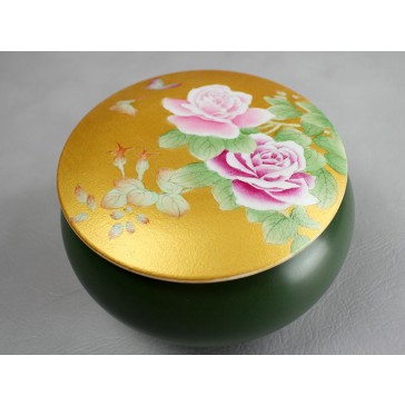 """Porzellan Deckeldose """"Schmetterlinge in Rosen"""" (Goldfarben)"""