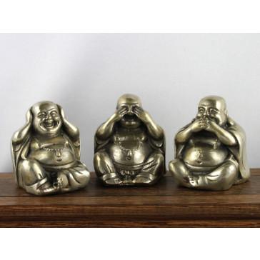 """Metallfiguren """"Die Drei Weisen Buddhas"""" Silber Messing"""