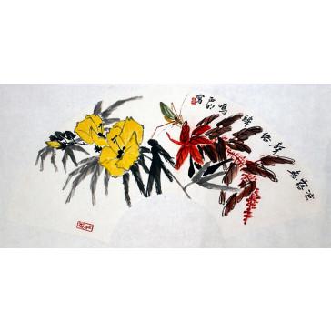 """Chen Zhengming """"Die Grille zirpt zwischen kalten Tau-Töpfen"""", chinesische Malerei"""