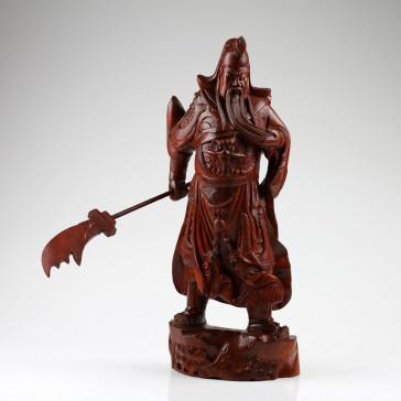 """Holzskulptur """"General Guan Yu"""", Holzschnitzerei, chinesische Holzkunst"""