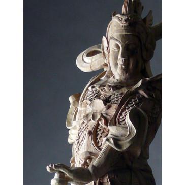 """Holzskulptur """"Bodhisattva Wei Tuo"""""""