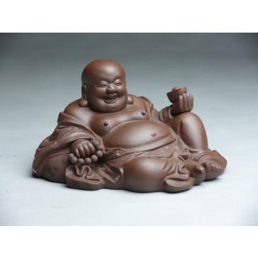 """Tonfigur """"Liegender Feng Shui Buddha"""" (dunkelbraun)"""