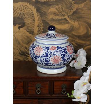 """Chinesische Deckelvase Porzellanvase """"Anmut der Blüte"""""""