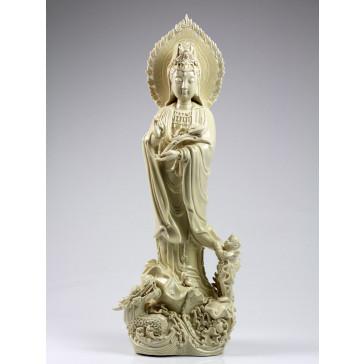 "Blanc-de-Chine ""Guanyin mit Drache und Kind"", Kuan Yin Porzellanfigur"