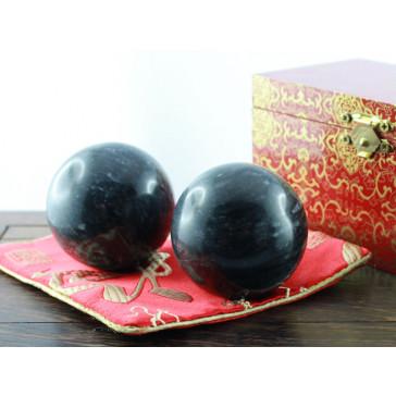 Qi-Gong Kugeln aus Stein, Schwarz