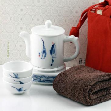 Reise Tee Set für unterwegs, Porzellan blau-weiß