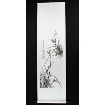 Rollbild Orchidee schwarz-weiß