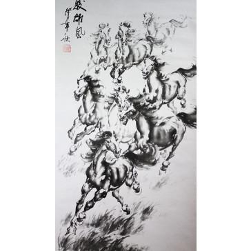 """Rollbild """"8 Wilde Pferde"""", Xu Beihong"""
