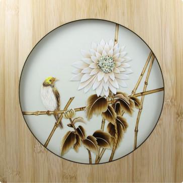 """Strohbild """"Herbstklänge"""" Ivory White mit Rahmen"""