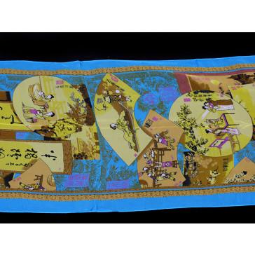 """Chinesisches Tuch """"Palastszenen"""", blau"""