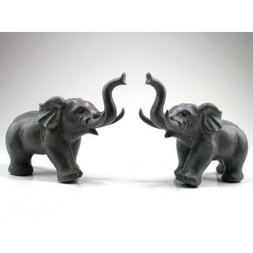 Steinfigur Glückselefantenpaar