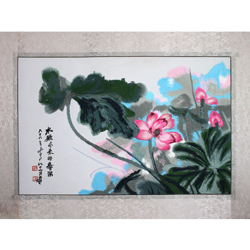 """Stickbild Chinesische Blumen """"Rosa Lotos"""""""