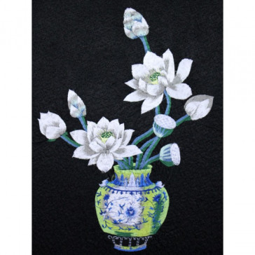 "Stickbild ""Vase mit Lotus"""