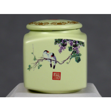"""Teedose eckig """"Harmonie"""", chinesische Keramik"""