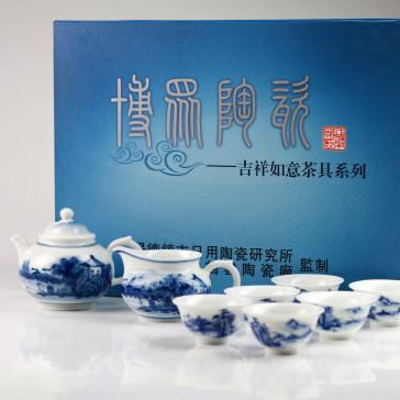 "Teeservice blau-weiß ""Pavillon am See"", chinesisches Porzellan-Service handbemalt"