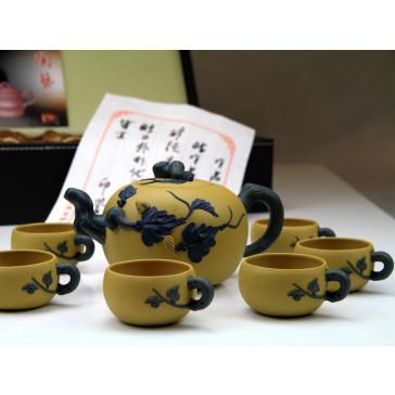 """Yixing Teeservice """"Mystisches Blattwerk"""", Pu Tao (gelb)"""